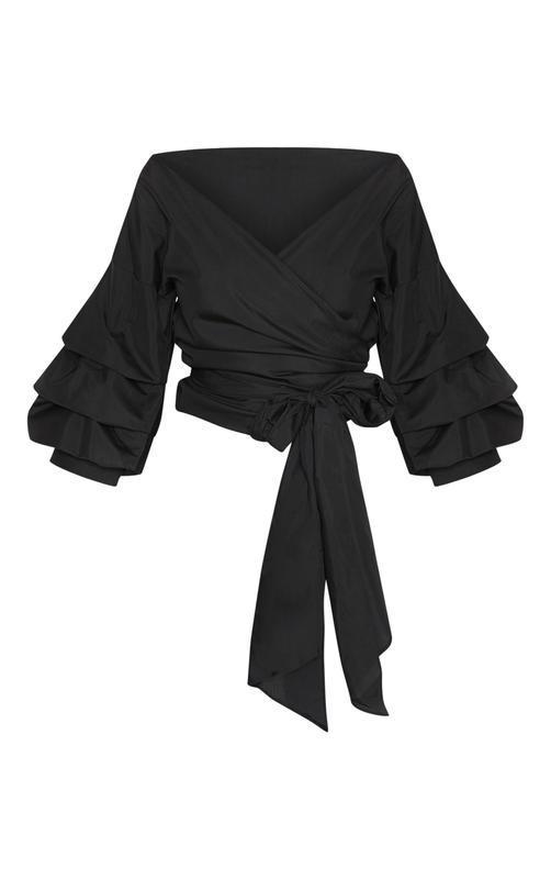 Шикарная черная блузка на запах с объемными рукавами - Фото 5