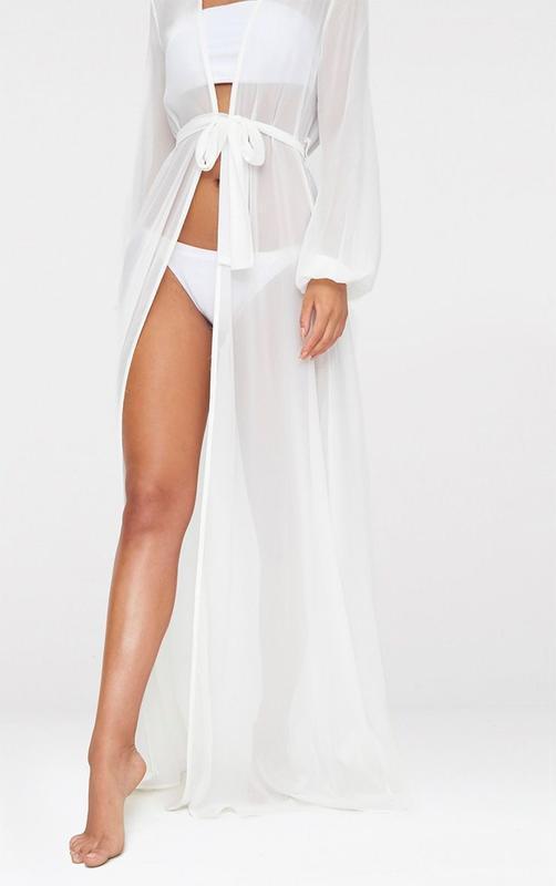 Белая длинная пляжная туника, платье, халат с длинными рукавами