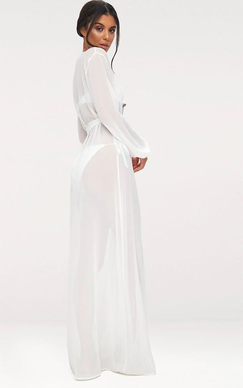 Белая длинная пляжная туника, платье, халат с длинными рукавами - Фото 3