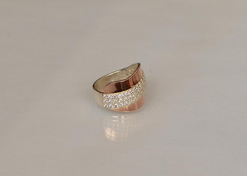 Кольцо серебро 925 с золотом 131к - Фото 3