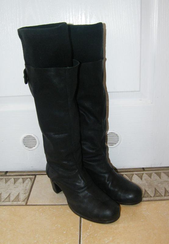 Кожаные демисезонные необычные сапоги, 37,5 размер, цена сниже...