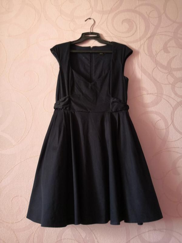 Темно-синее платье с пышной юбкой, ретро стиль, платье на новы...