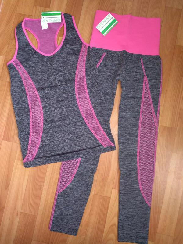 Костюм для фитнеса, спорта, утягивающий, майка+ лосины xs, s, ...