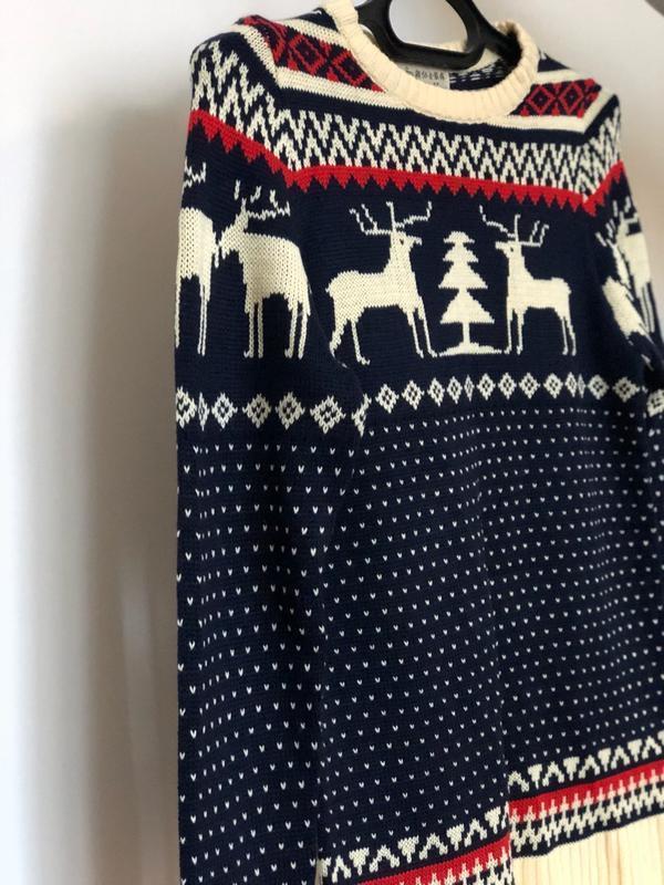 Мужской синий свитер с оленями (новогодний, легкий свитер, кофта) - Фото 3