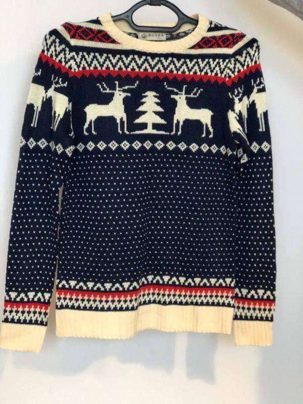 Мужской синий свитер с оленями (новогодний, легкий свитер, кофта) - Фото 4