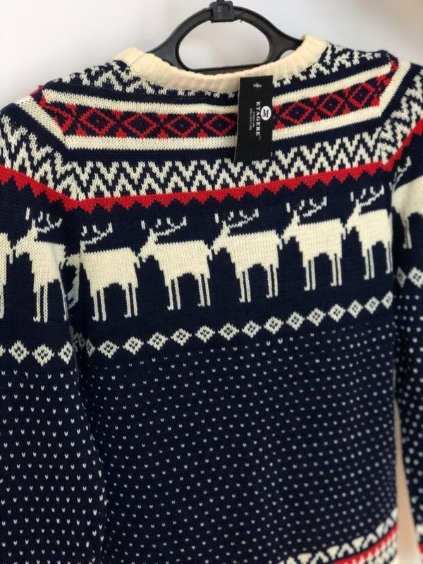 Мужской синий свитер с оленями (новогодний, легкий свитер, кофта) - Фото 5