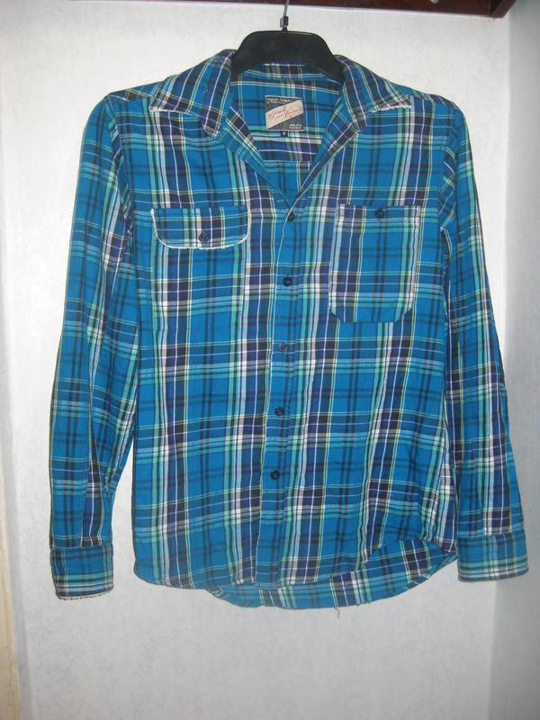 Рубашка в клетку jack&jones голубая синяя с мехом коттон хлопок - Фото 2