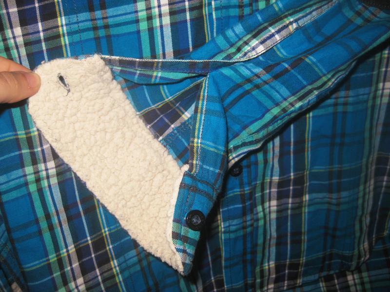 Рубашка в клетку jack&jones голубая синяя с мехом коттон хлопок - Фото 4