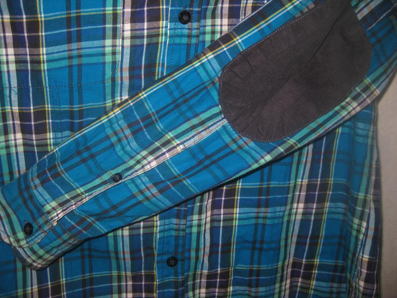 Рубашка в клетку jack&jones голубая синяя с мехом коттон хлопок - Фото 5