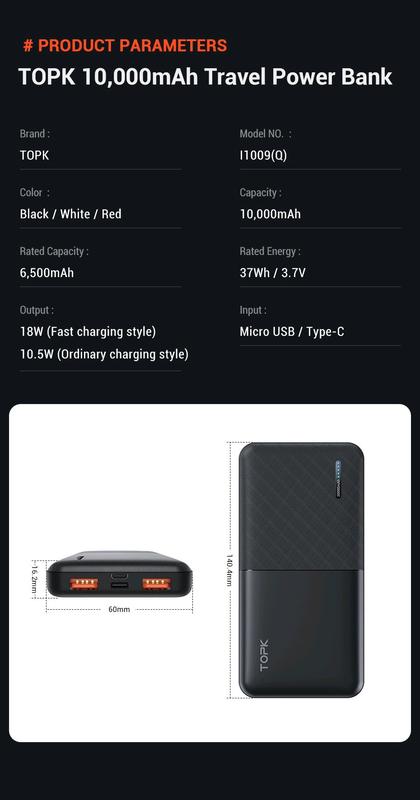 Power Bank TOPK 10000mAh 18W QC 3.0 Оригінал Black - Фото 9