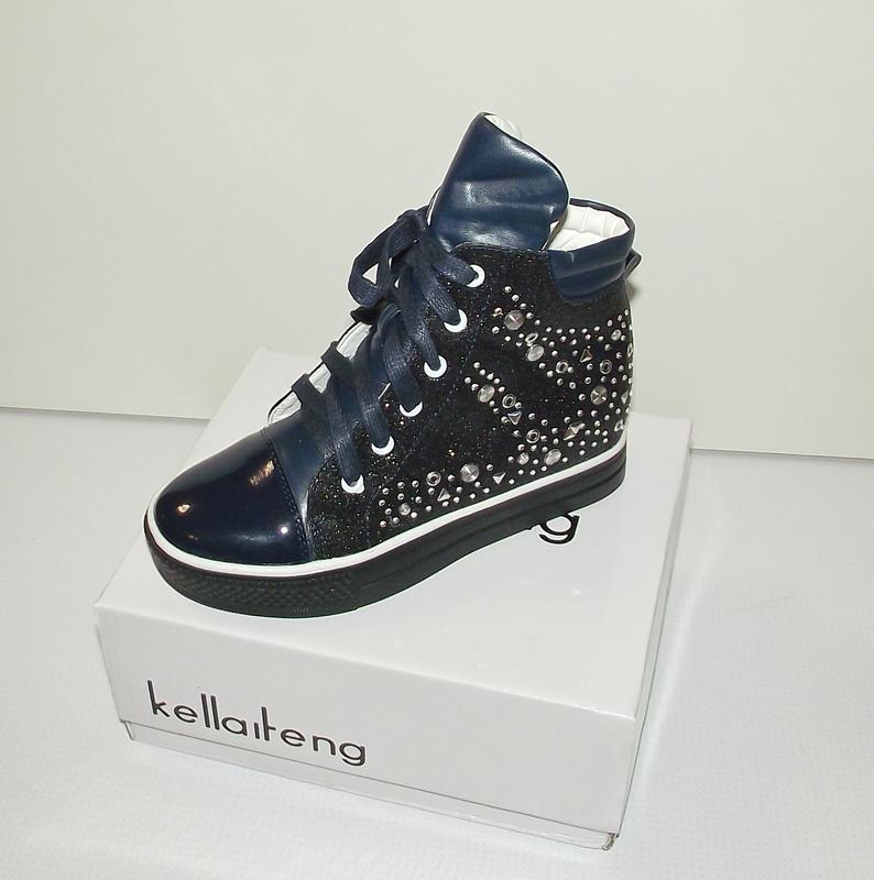 Ботинки сникерсы демисезонные синие со стразами
