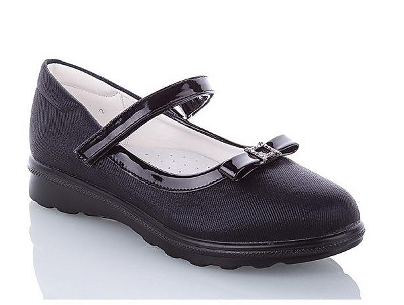 Классические школьные туфли для девочек черные