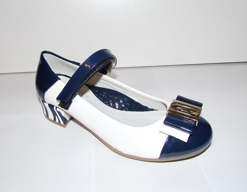 Стильные туфли для девочек clibee бело-синие
