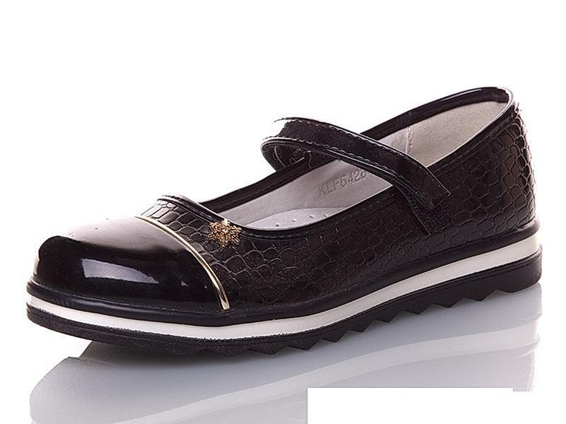 Черные детские туфли для девочек klf