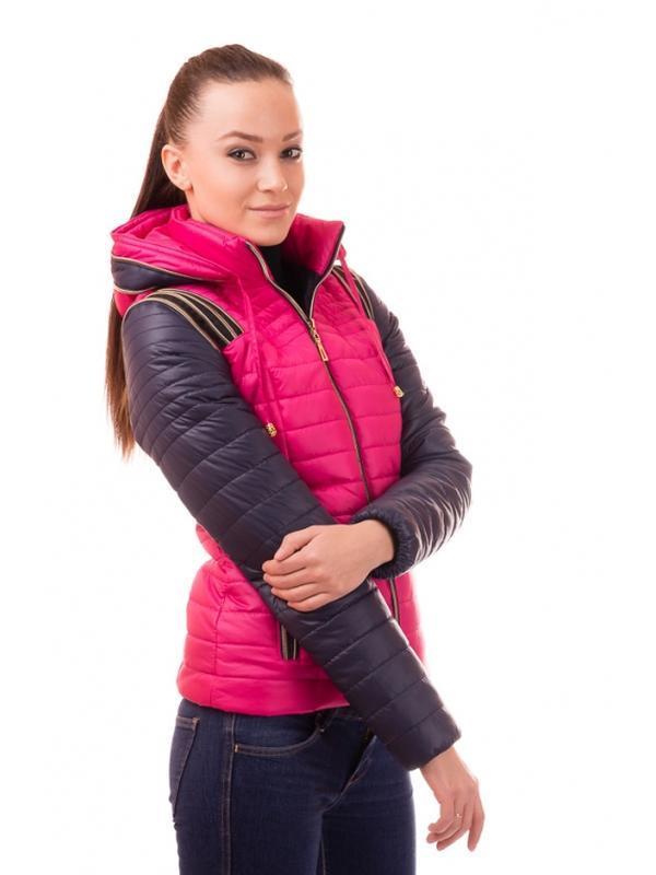 Модная демисезонная куртка трансформер малиновая рокси/roxy