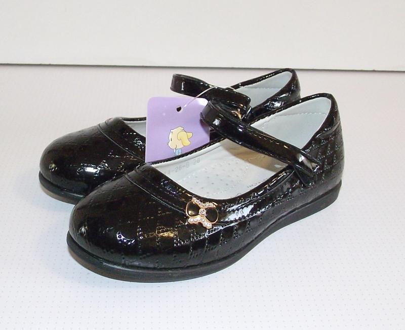Черные детские туфли для девочек том 28 разм