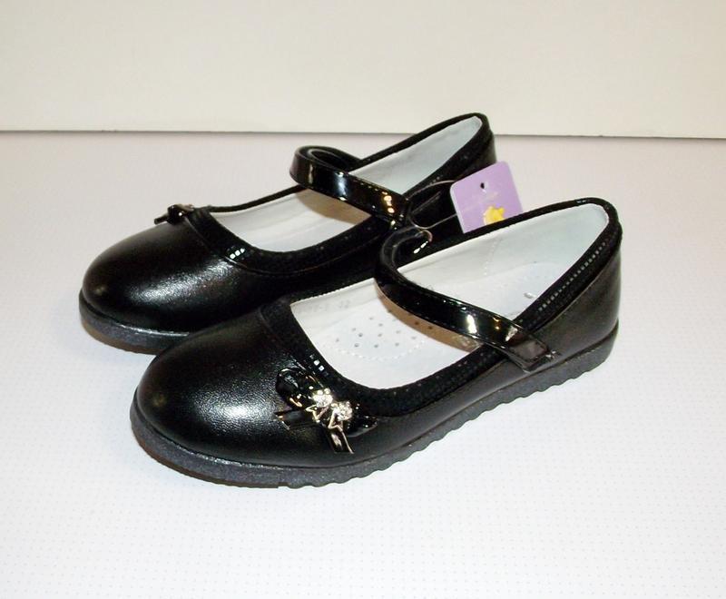 Черные школьные детские туфли для девочек том 32-37