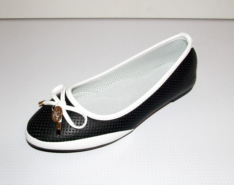 Туфли балетки слиперы для девочек черные с белым 30-36