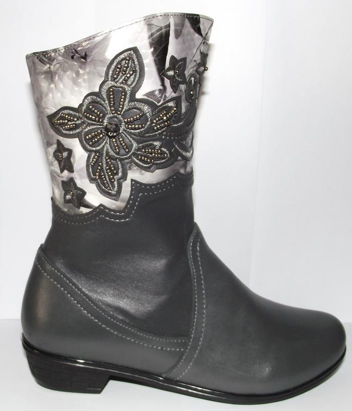 Демисезонные сапоги кожаные серые для девочек
