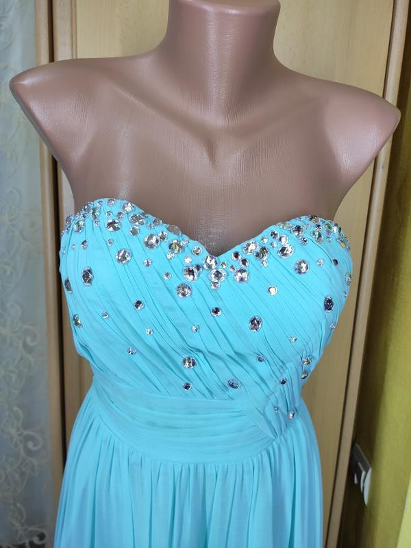 Вечернее/выпускное бирюзовое платье в пол расшито камнями
