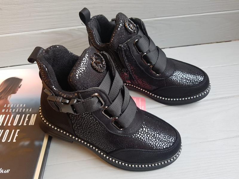 Утепленные легкие деми ботинки на флисе с супинатором