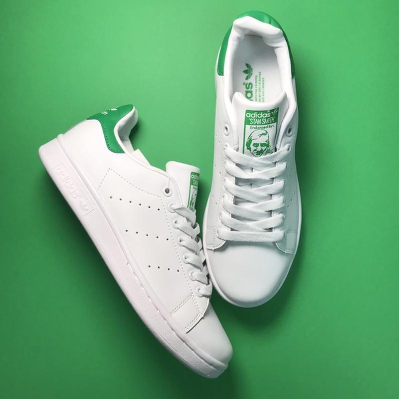 Свежак! женские кожаные кроссовки adidas stan smith white green.