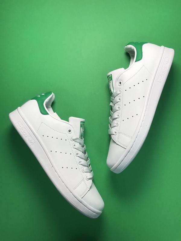 Свежак! женские кожаные кроссовки adidas stan smith white green. - Фото 2