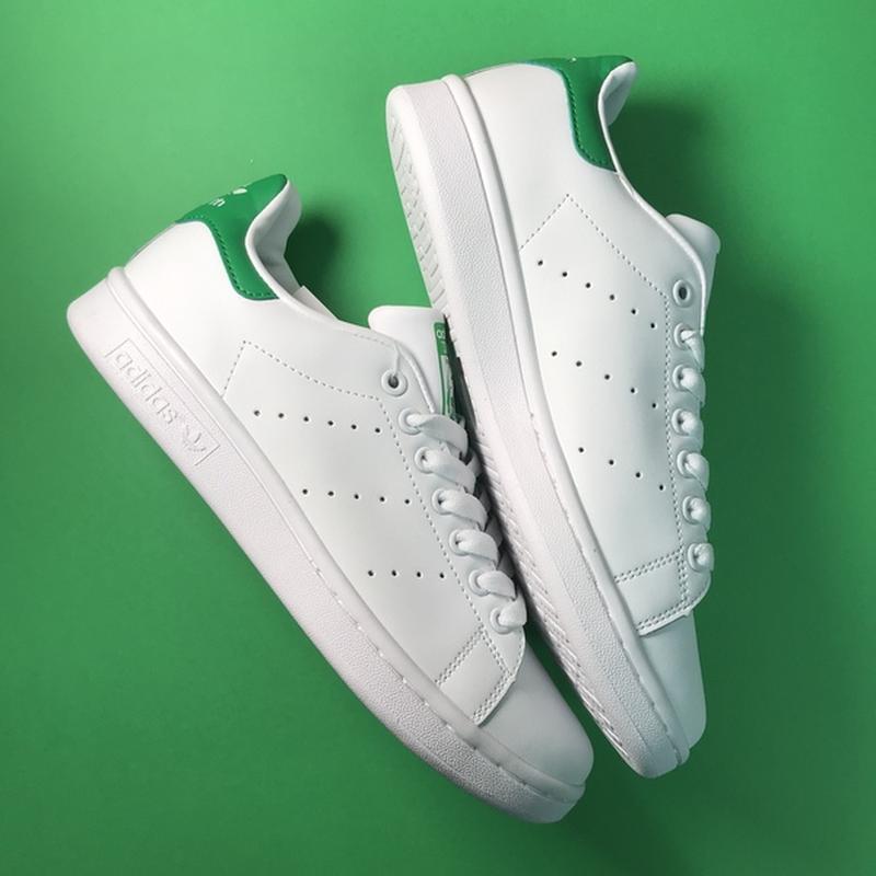 Свежак! женские кожаные кроссовки adidas stan smith white green. - Фото 3