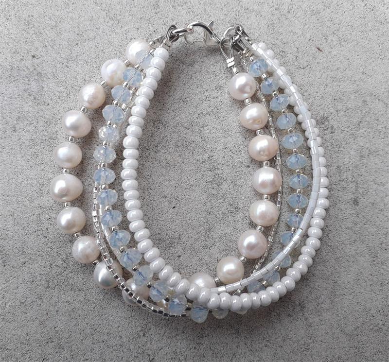 Жемчужный браслет, свадебный браслет, нарядное украшение