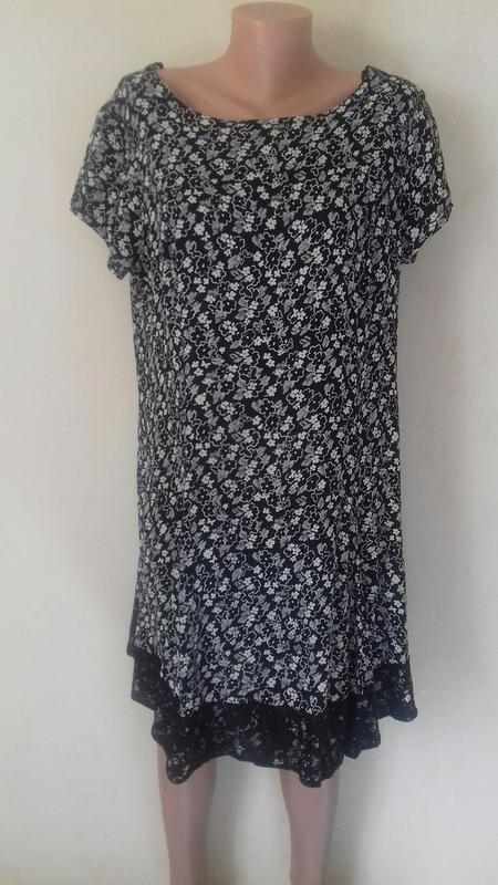 Натуральное платье с принтом и кружевом большого размера