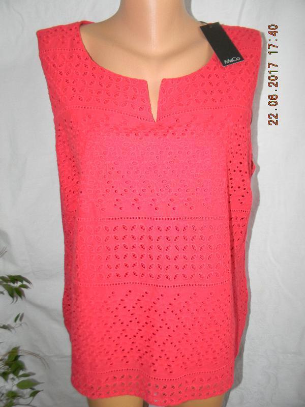 Новая кружевная блуза красного цвета большого размера m&co