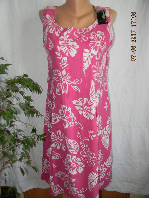 Новое платье лен с ярким принтом elegance