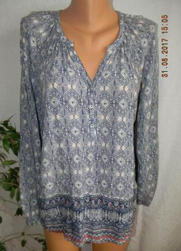 Легкая натуральная блуза  с принтом