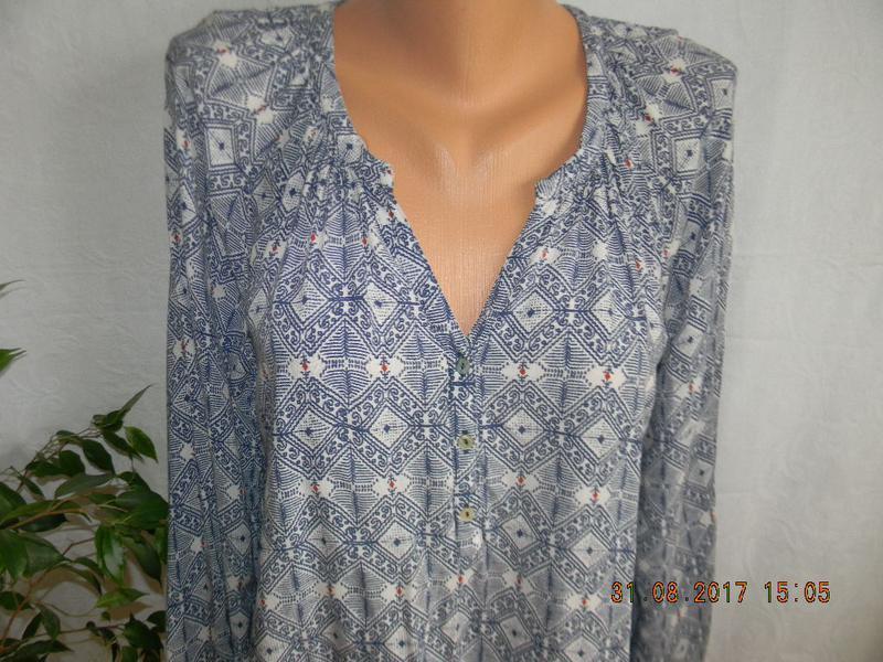 Легкая натуральная блуза  с принтом - Фото 2