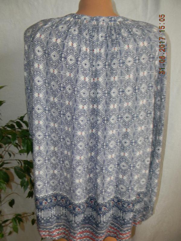 Легкая натуральная блуза  с принтом - Фото 3