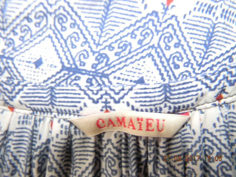 Легкая натуральная блуза  с принтом - Фото 4