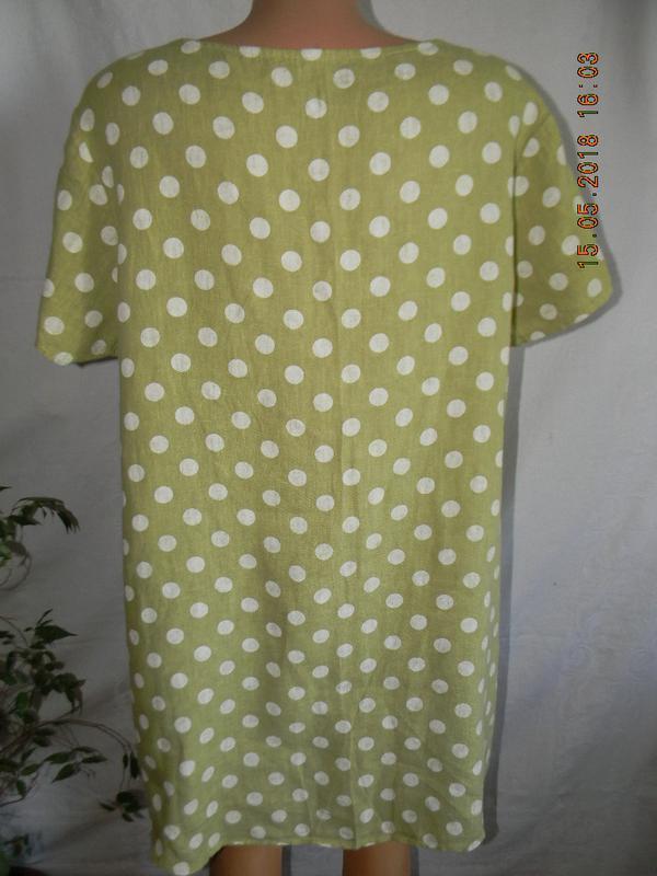 Блуза с горошек лен италия - Фото 2