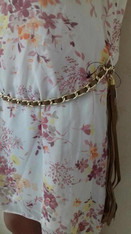 Новая нежная блуза-туника с принтом и пояском - Фото 2