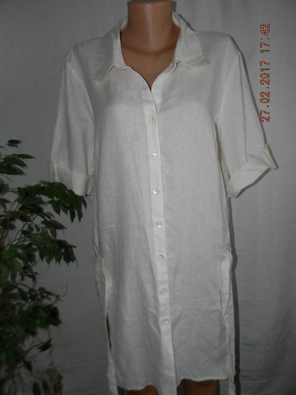 Белое льняное платье-рубашка большого размера tu