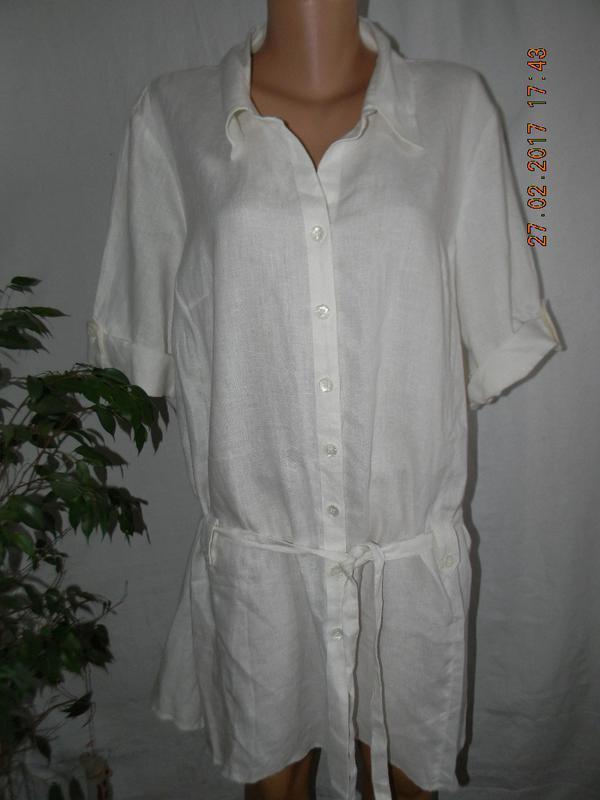 Белое льняное платье-рубашка большого размера tu - Фото 2