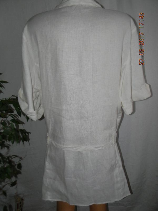Белое льняное платье-рубашка большого размера tu - Фото 3
