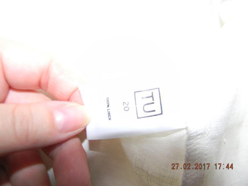 Белое льняное платье-рубашка большого размера tu - Фото 4