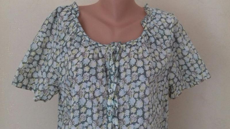 Натуральная блуза с принтом большого размера - Фото 2