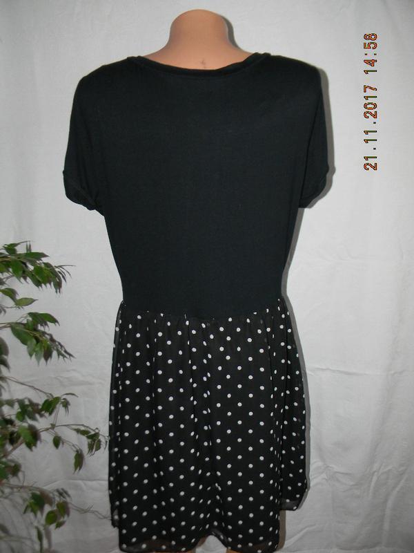 Комбинированное платье в горошек george - Фото 3