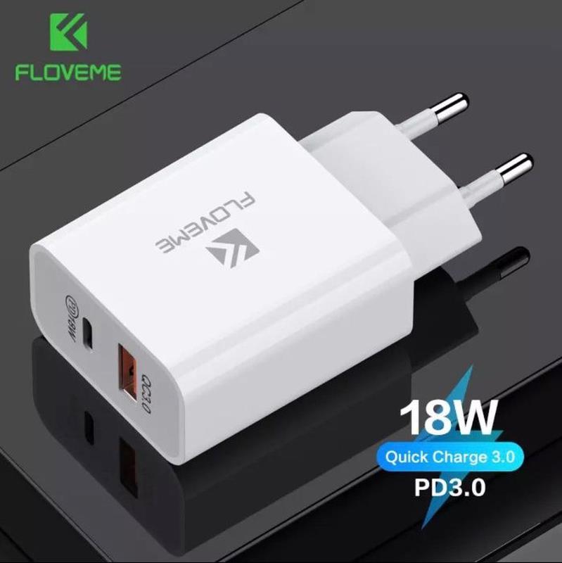Floveme быстрое зарядное 18W на 2-USB Type-C PD 3.0 quick char... - Фото 6