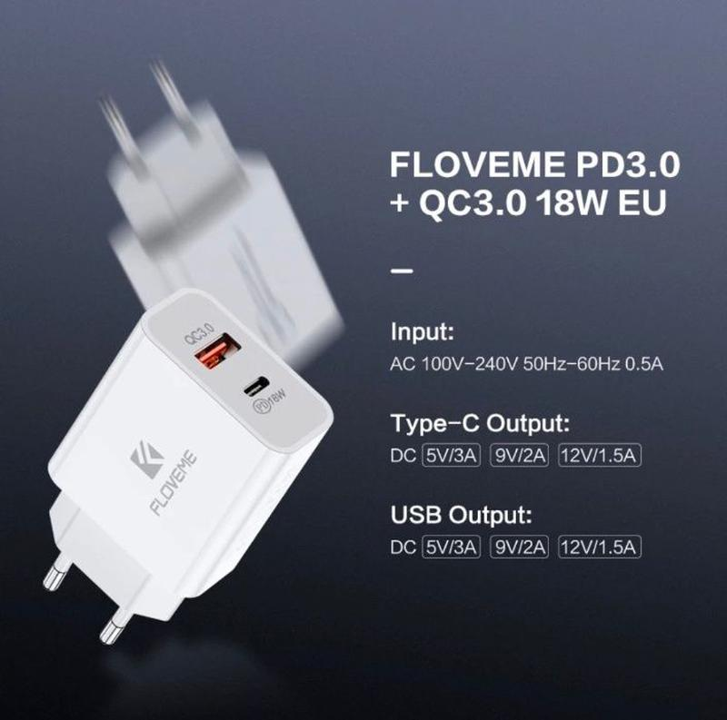 Floveme быстрое зарядное 18W на 2-USB Type-C PD 3.0 quick char... - Фото 7