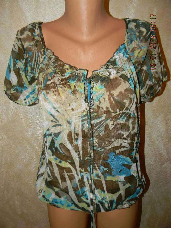 Шифоновая блуза с принтом soon