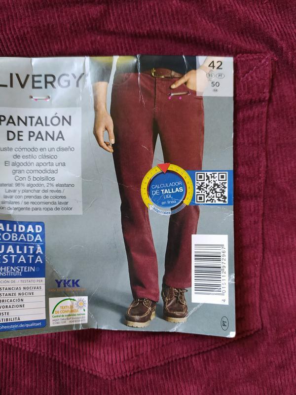 Штаны мужские вельветовые размер евро 50 l xl livergy германия - Фото 2