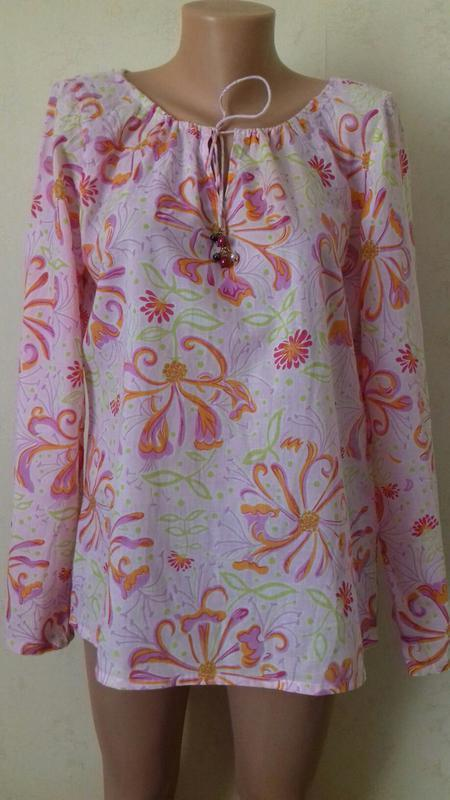 Распродажа!!!нежная натуральная блуза с принтом