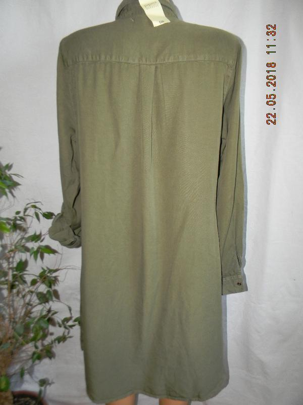 Новое джинсовое платье рубашка цвета хаки papaya - Фото 2